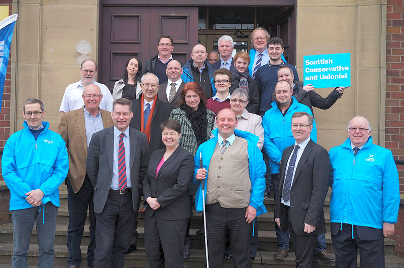 Scottish Conservative MSPs and councillors outside Haig House